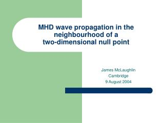 MHD wave propagation in the neighbourhood of a two-dimensional null point