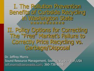 Dr. Jeffrey Morris         Sound Resource Management, Seattle, Washington,USA