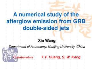 A numerical study of the afterglow emission from GRB double-sided jets