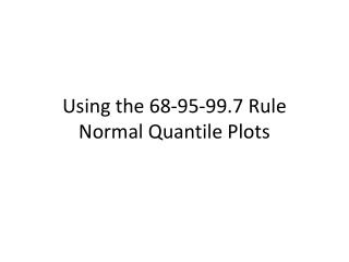 Using the 68-95-99.7 Rule Normal Quantile Plots