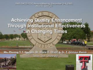 Achieving Quality Enhancement  Through Institutional Effectiveness in Changing Times