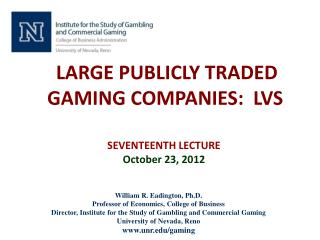 LARGE PUBLICLY TRADED GAMING COMPANIES:  LVS