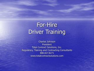 For-Hire  Driver Training