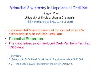 Azimuthal Asymmetry in  Unpolarized Drell-Yan