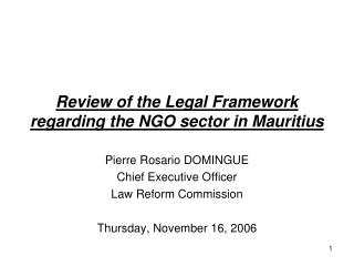 Review of the Legal Framework regarding the NGO sector in Mauritius