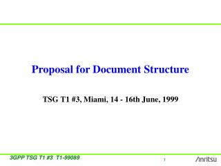 Proposal for Document Structure