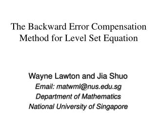 The Backward Error Compensation Method for Level Set Equation