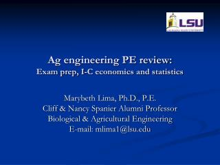 Ag engineering PE review:  Exam prep, I-C economics and statistics