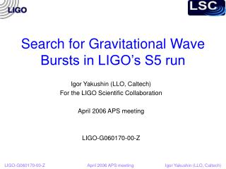 Search for Gravitational Wave Bursts in LIGO's S5 run
