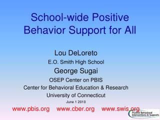 School-wide Positive Behavior Support for All