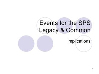 Events for the SPS Legacy & Common