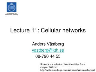 Lecture 11: Cellular networks