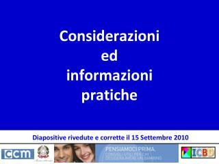Considerazioni  ed  informazioni pratiche