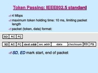 Token Passing: IEEE802.5 standard