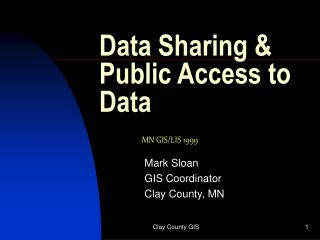Data Sharing & Public Access to Data