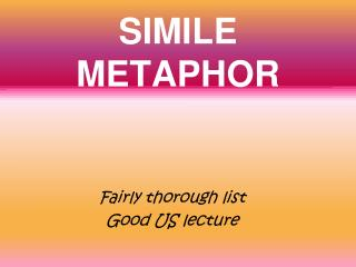 SIMILE METAPHOR