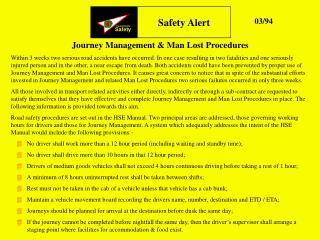 Journey Management & Man Lost Procedures