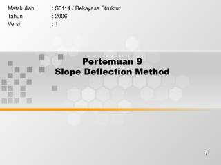 Pertemuan 9 Slope Deflection Method