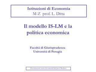 Istituzioni di Economia  M-Z  prof. L. Ditta