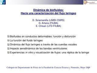 Din á mica de biofluidos: Hacia una caracterización del flujo lar í ngeo