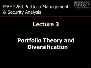 MBF 2263 Portfolio Management & Security Analysis