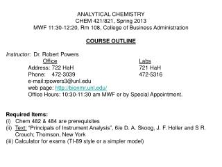ANALYTICAL CHEMISTRY CHEM 421/821, Spring 2013