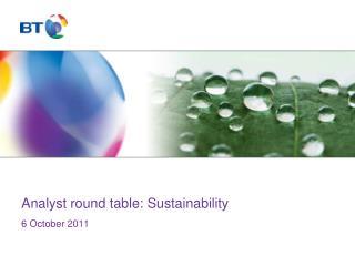 Analyst round table: Sustainability