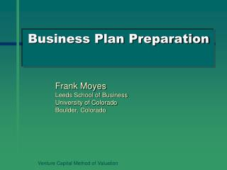 Business Plan Preparation