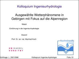 Kolloquium Ingenieurhydrologie