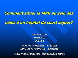 Comment situer la MPR au sein des  pôles d'un hôpital de court séjour?