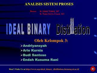 Oleh Kelompok 3: Andriyansyah Arie Kurnia Budi Santoso Endah Kusuma Rani