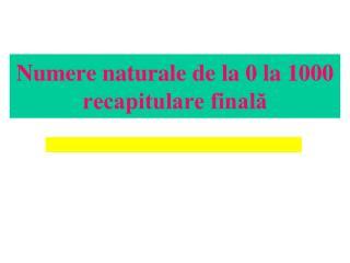 Numere naturale de la 0 la 1000 recapitulare finală