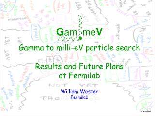 G am  me V Gamma to milli-eV particle search Results and Future Plans at Fermilab William Wester