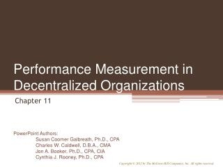 Performance Measurement in Decentralized Organizations