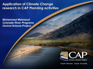 Application of Climate Change research in CAP Planning activities