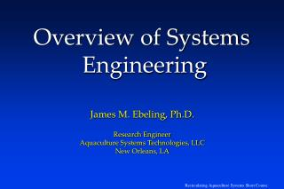 Overview of Systems  Engineering