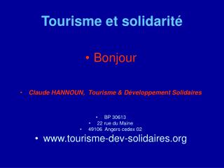 Tourisme et solidarité