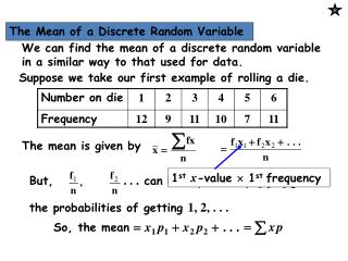 1 st x -value    1 st  frequency