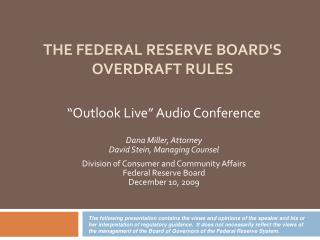 The Federal Reserve Board's Overdraft rules