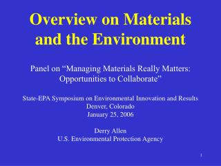Overview on Materials and the Environment