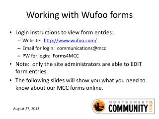 Working with  Wufoo  forms