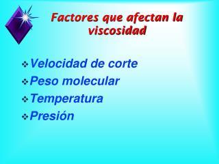 Velocidad de corte Peso molecular Temperatura Presión