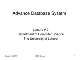 Advance Database System