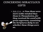 CONCERNING MIRACULOUS GIFTS