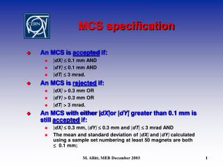 MCS specification