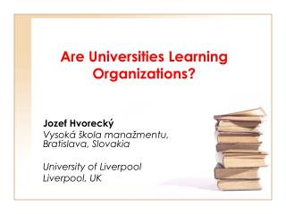 Are Universities Learning Organizations