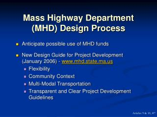 Mass Highway Department (MHD) Design Process