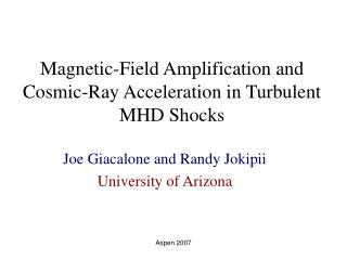 Magnetic-Field Amplification and Cosmic-Ray Acceleration in Turbulent MHD Shocks