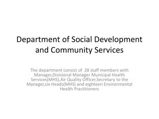 Department of Social Development and Community Services