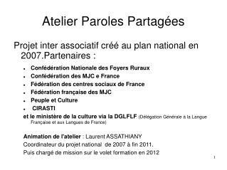 Atelier Paroles Partagées
